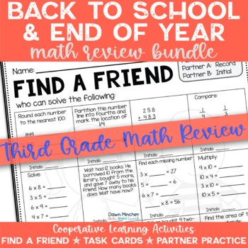 Third Grade Beginning and End of the Year Math Review Activities Bundle