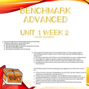 Third Grade Benchmark Advance Unit 1 Week 2 Comprehension Questions