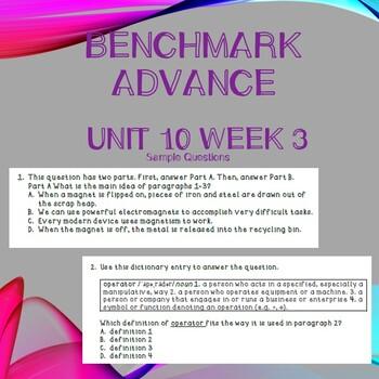 Third Grade Benchmark Advance Unit 10 Week 2 Comprehension Questions