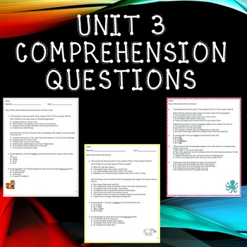 Third Grade Benchmark Advance Unit 3 Comprehension Questions Bundle