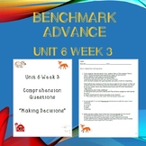 Third Grade Benchmark Advance Unit 6 Week 3 Comprehension Questions