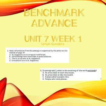 Third Grade Benchmark Advance Unit 7 Week 1 Comprehension Questions