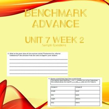 Third Grade Benchmark Advance Unit 7 Week 2 Comprehension Questions