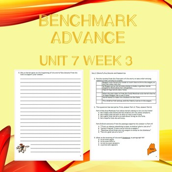 Third Grade Benchmark Advance Unit 7 Week 3 Comprehension Questions
