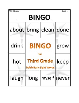 Third Grade Bingo Dolch Basic Sight Words
