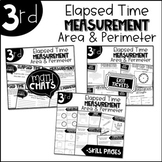 Third Grade Bundle Elapsed Time Measurement Area and Perimeter