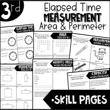 Third Grade Bundle Elapsed Time Measurement Area and Perimeter