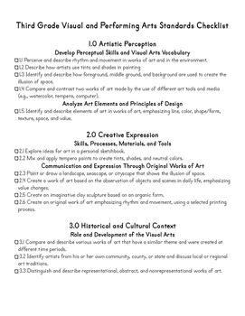 Third Grade CA Visual Arts Standards Checklist