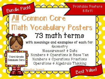 {BUNDLE} Common Core Math Vocab Posters- Grade 3