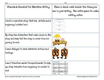 Third Grade CCGPS Narrative Writing Rubric and Checklist