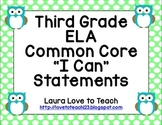 "Third Grade CCSS ELA ""I Can"" Posters (Owl themed)"