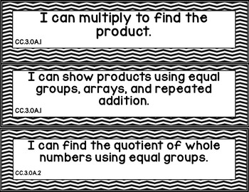 "Third Grade CCSS Math  ""I Can"" Posters (Black and White Chevron)"