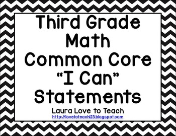 """Third Grade CCSS Math  """"I Can"""" Posters (Black and White Chevron)"""
