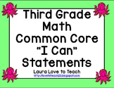 """Third Grade CCSS Math  """"I Can"""" Posters (Ocean themed)"""