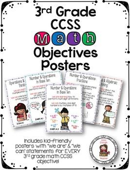 Third Grade CCSS Math Objectives Poster Set