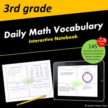 Third Grade CCSS Math Vocabulary Interactive Notebook