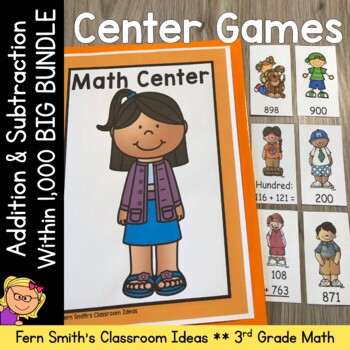 Math Centers and Printables Third Grade Math Add + Sub Within 1000 + Place Value