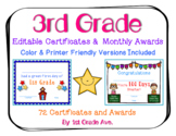 End of the Year Certificates & Third Grade Awards for the Entire Year - Editable