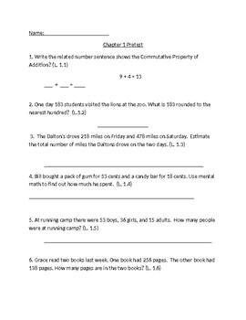 Third Grade Chapter One Pretest