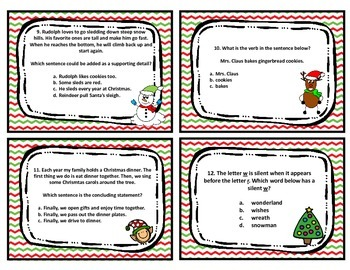 Third Grade Christmas ELA Review Task Cards