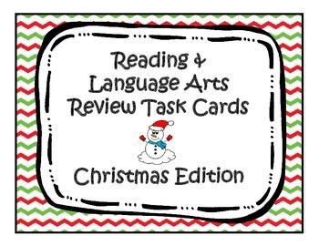 Third Grade Christmas ELA Review Task Cards