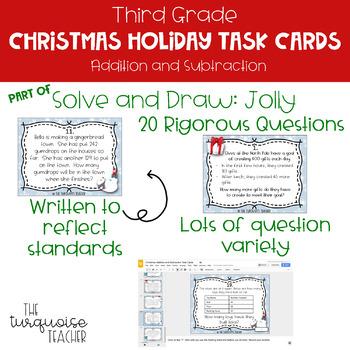 Third Grade Christmas Holiday Addition Subtraction Math Task Google Classroom