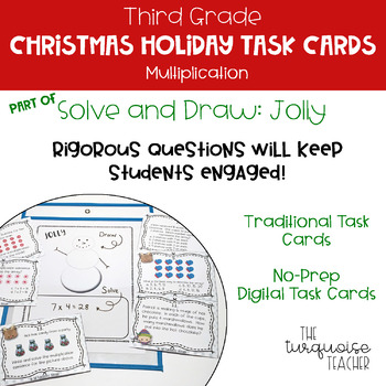 Third Grade Christmas Holiday Multiplication Math Task Cards Google Classroom
