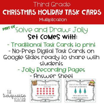 Third Grade Christmas Multiplication Math Task Cards Google Classroom