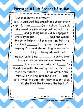 Third Grade Cloze Reading Passages Set A (#1-10)