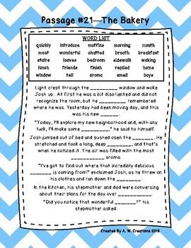 Third Grade Cloze Reading Passages Set C (#21-33)