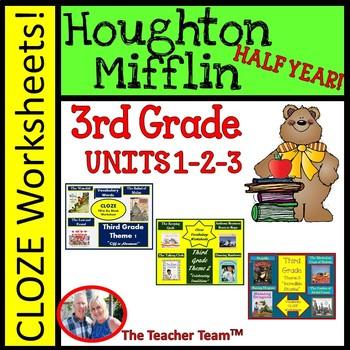 Houghton Mifflin Third Grade Cloze Worksheet Half Year Bundle Themes 1,2,3