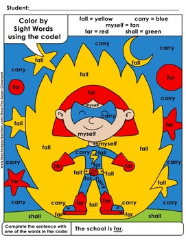 Third Grade: Color by Sight Word Sentences - 005