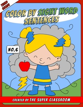 Third Grade: Color by Sight Word Sentences - 006