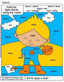 Third Grade: Color by Sight Word Sentences - 009