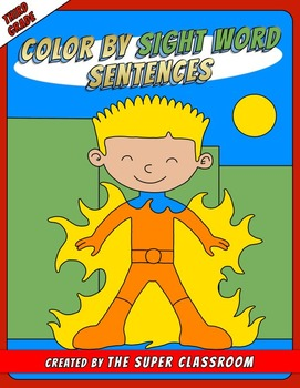 Third Grade: Color by Sight Word Sentences - 010