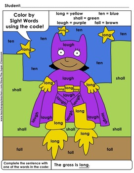 Third Grade: Color by Sight Word Sentences - 011
