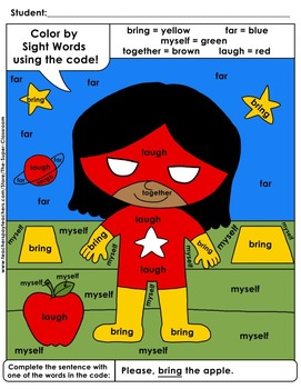 Third Grade: Color by Sight Word Sentences - 012