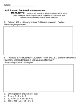 Third Grade Common Core Addition and Subtraction Assessment 1
