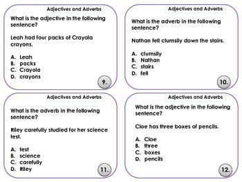 Third Grade Common Core Adjectives and Adverbs Task Cards
