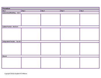 Third Grade Common Core Aligned Interactive Lesson Plan Templates