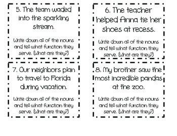 Third Grade Common Core (CCSS) Aligned Noun Task Cards