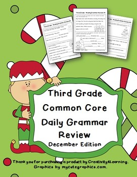 FREE Third Grade Common Core Daily Grammar Review - December Edition