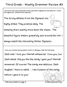 Third Grade Common Core Daily Grammar Review - February Edition