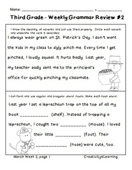 Third Grade Common Core Daily Grammar Review - March Edition