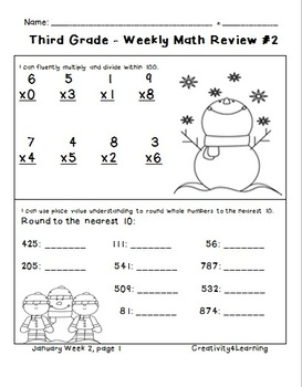 Third Grade Common Core Daily Math Review - January Edition