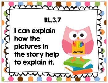 """Third Grade Common Core ELA """"I Can"""" Posters {Owl and Chocolate Dots Theme}"""