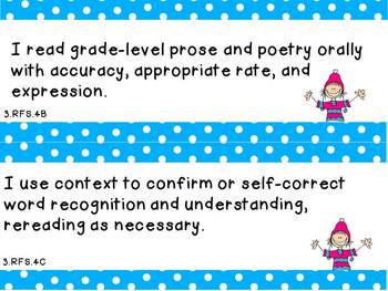 "Third Grade Common Core ELA ""I Can"" Statements"