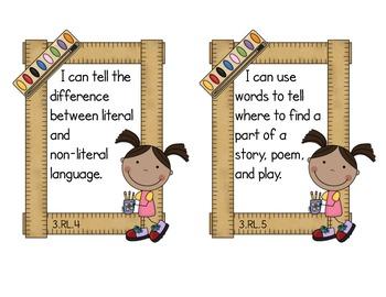 Third Grade Common Core ELA - Literature Standards Mini-Posters