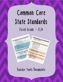 Third Grade Common Core ELA Teacher Documents