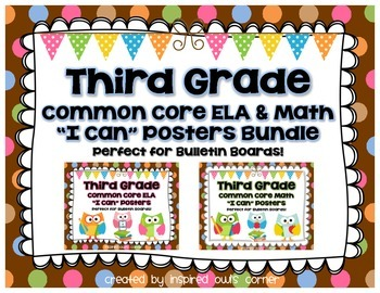 Third Grade Common Core ELA and Math I Can Posters Bundle